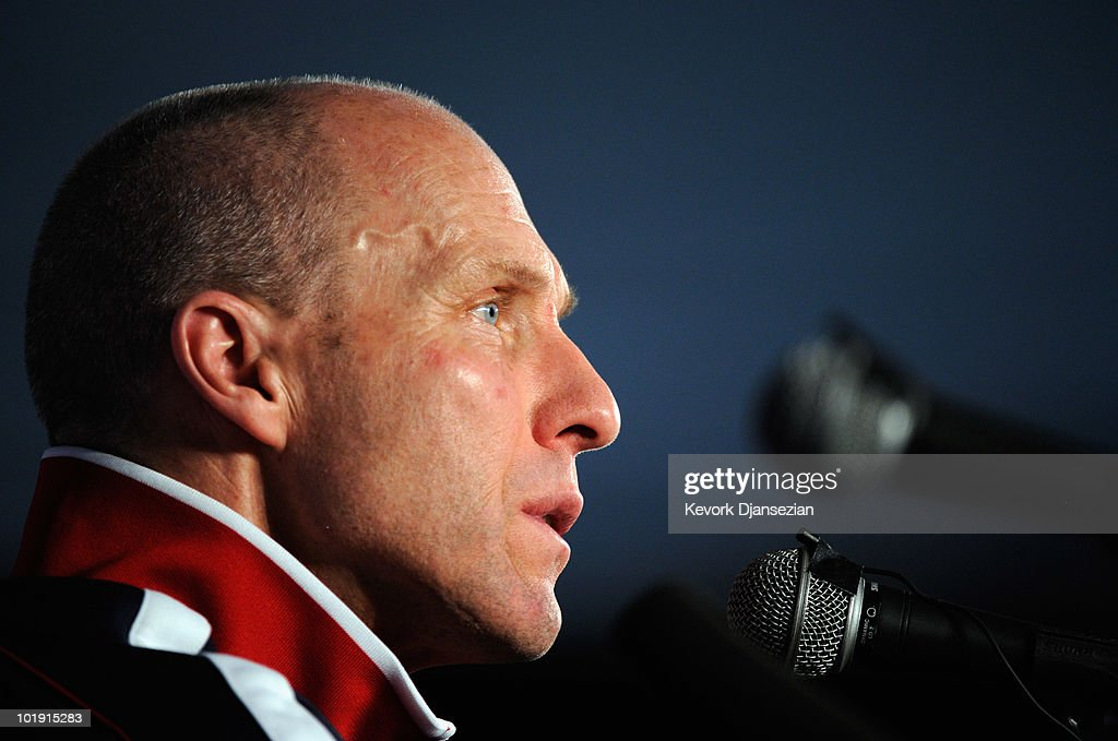 <a gi-track='captionPersonalityLinkClicked' href=/galleries/search?phrase=Bob+Bradley&family=editorial&specificpeople=685515 ng-click='$event.stopPropagation()'>Bob Bradley</a> head coach of US national soccer team speaks during a news conference at Irene Farm on June 9, 2010 in Irene near Pretoria, South Africa. US opens their 2010 World Cup against England on June 12 in Rustenberg.