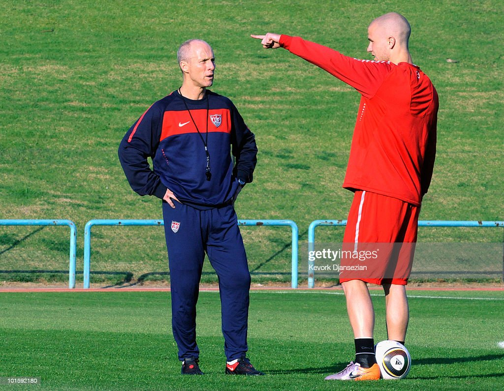 <a gi-track='captionPersonalityLinkClicked' href=/galleries/search?phrase=Bob+Bradley&family=editorial&specificpeople=685515 ng-click='$event.stopPropagation()'>Bob Bradley</a> (L) head coach of US national soccer team talks with his son Michael Bradley during training session on June 3, 2010 in Pretoria, South Africa. US will face England in their 2010 World Cup opener on June 12.