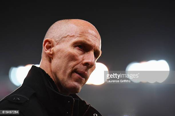 Bob Bradley manager of Swansea City looks on during the Premier League match between Stoke City and Swansea City at Bet365 Stadium on October 31 2016...