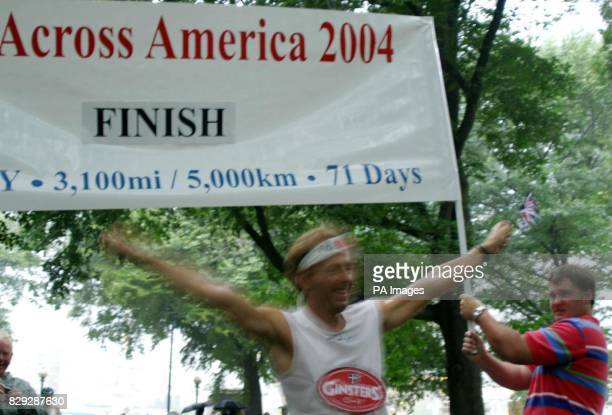 Bob Brown sprints across the finish line in Central Park New York winning the 3100 mile California to New York ultramarathon The primary school...