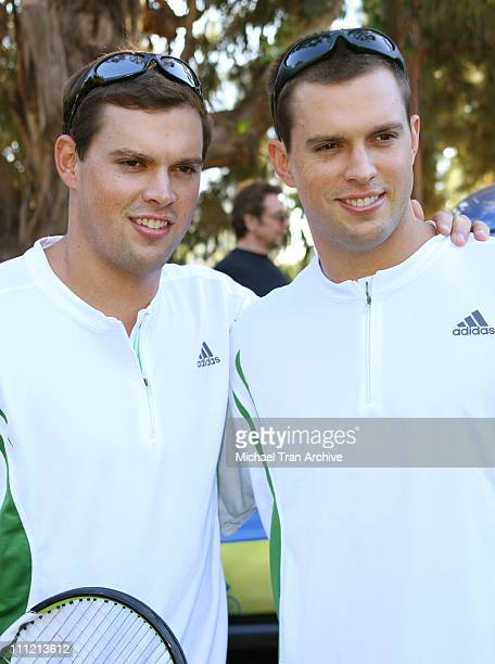 Bob Bryan and Mike Bryan during The Bryan Brothers Rackets Stars Guitars December 3 2006 at Palisades Tennis Center in Pacific Palisades California...