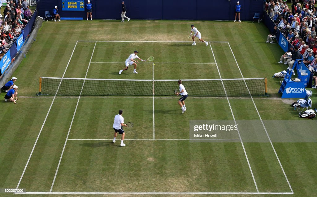 Bob Bryan and Mike Bryan of the United States and Neal Skupski and Ken Skupski of Great Britain in action during the men's doubles quarter final match against on day five of the Aegon International Eastbourne at Devonshire Park Lawn Tennis Club on June 29, 2017 in Eastbourne, England.