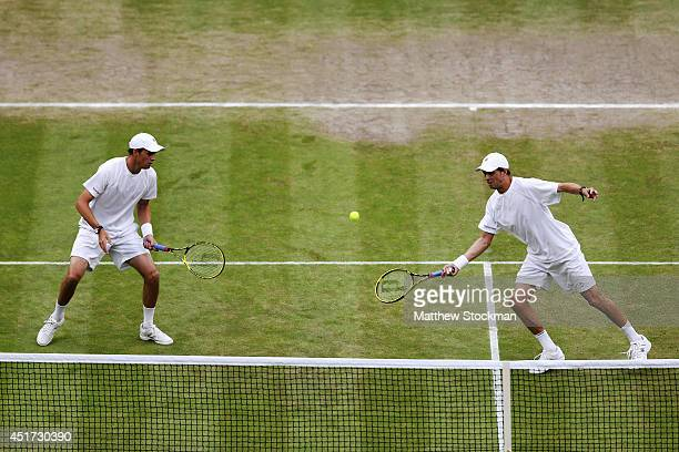 Bob Bryan and Mike Bryan of the United States celebrate during their Gentlemen's Doubles Final against Jack Sock of the United States and Vasek...