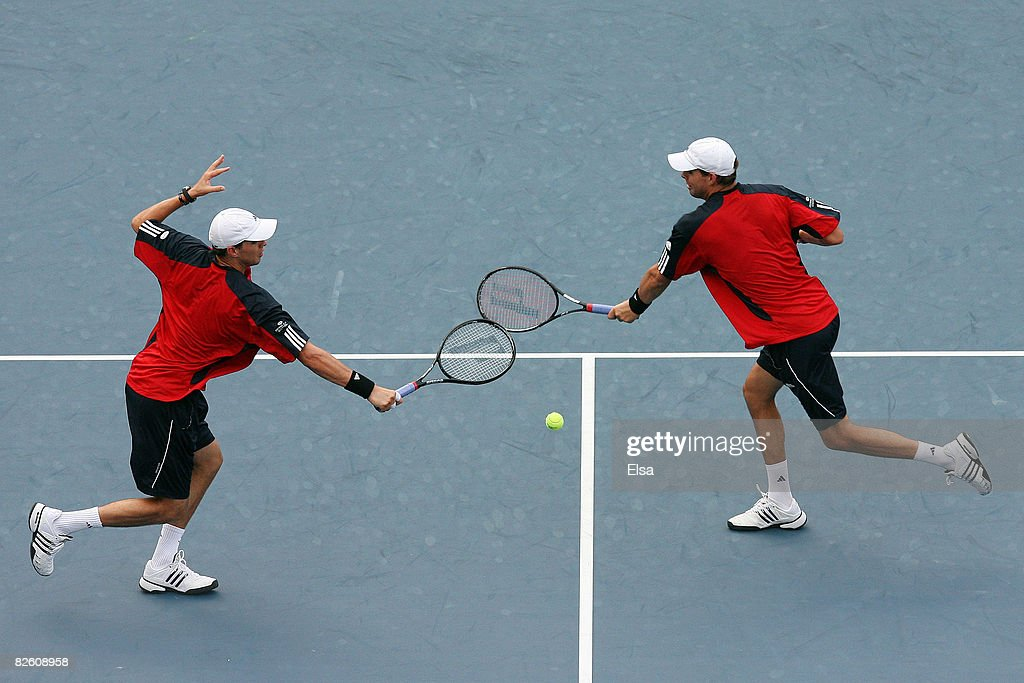 Bob Bryan and Mike Bryan of the United States take on Dominik Hrbaty and David Skoch during Day 6 of the 2008 US Open at the USTA Billie Jean King...