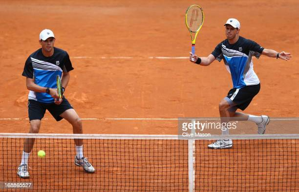 Bob Bryan and Mike Bryan of the USA in action during their match against Paolo Lorenzi and Potito Starace of Italy on day five of the Internazionali...