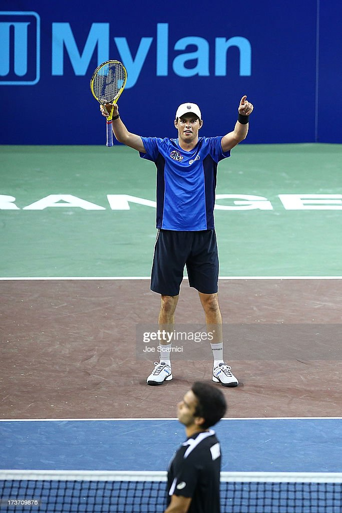<a gi-track='captionPersonalityLinkClicked' href=/galleries/search?phrase=Bob+Bryan+-+Tennis+Player&family=editorial&specificpeople=203335 ng-click='$event.stopPropagation()'>Bob Bryan</a> of the Texas Wild reacts to a point as the Texas Wild compete against the Orange County Breakers on July 16, 2013 in Newport Beach, California.