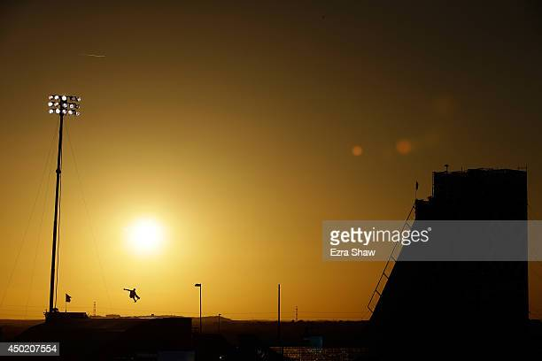 Bob Burnquist of Brazil competes in round one of the Skateboard Big Air competitioin during the X Games Austin at Circuit of The Americas on June 6...