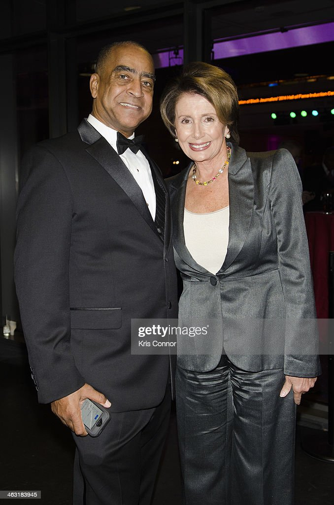 Bob Butler and <a gi-track='captionPersonalityLinkClicked' href=/galleries/search?phrase=Nancy+Pelosi&family=editorial&specificpeople=169883 ng-click='$event.stopPropagation()'>Nancy Pelosi</a> attend the 4th Annual NABJ Hall Of Fame ceremony at NEWSEUM on January 16, 2014 in Washington, DC.