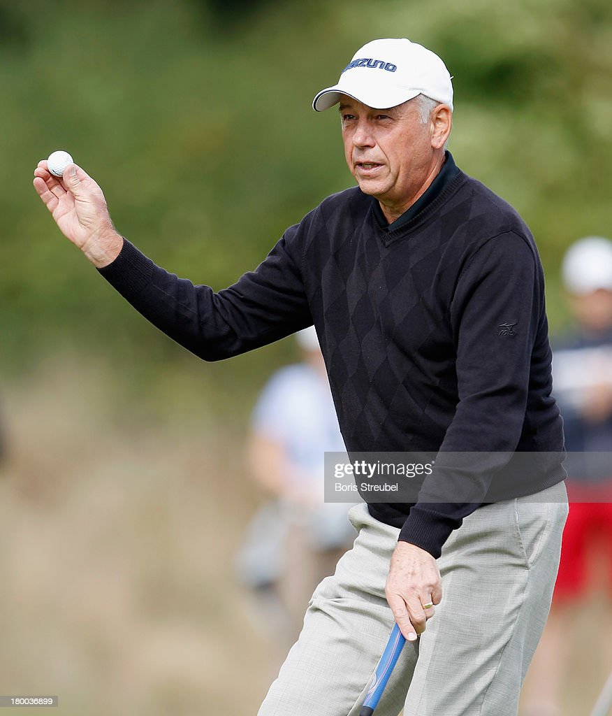 <a gi-track='captionPersonalityLinkClicked' href=/galleries/search?phrase=Bob+Cameron&family=editorial&specificpeople=573694 ng-click='$event.stopPropagation()'>Bob Cameron</a> of England reacts during the final round on day three of the WINSTONgolf Senior Open played at WINSTONgolf on September 8, 2013 in Schwerin, Germany.