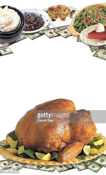 Bob Campbell color photo illustration of trimming the cost of Thanksgiving dinner includes images of turkey mashed potatoes cranberry sauce stuffing...