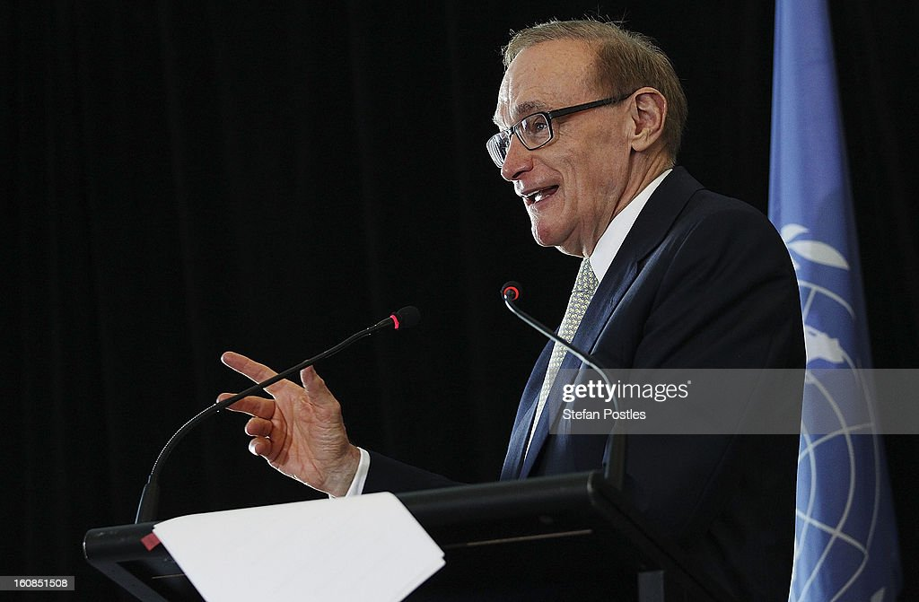 <a gi-track='captionPersonalityLinkClicked' href=/galleries/search?phrase=Bob+Carr&family=editorial&specificpeople=209391 ng-click='$event.stopPropagation()'>Bob Carr</a> at the official launch of the 'Australia And The United Nations' book on February 7, 2013 in Canberra, Australia. The book, written by historians from the Department of Foreign Affairs and Trade, highlights the key role played by Australia at the United Nations from being a founding member of the League of Nations right through to the present day seat on the UN Security Council.