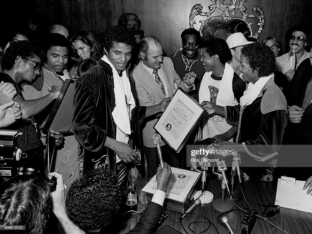 Bob Carr known as Willis the Guard WQXI/94Q (center) presents The Recording Academy/Grammy - Atlanta Chapter Special Declaration to The Jacksons on the Triumph Tour at The Omni Coliseum in Atlanta Georgia July 22, 1981