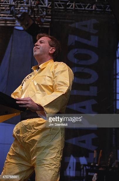 Bob Casale of Devo performs at Lollapalooza at Irvine Meadows Amphitheatre in Irvine California on August 3 1996