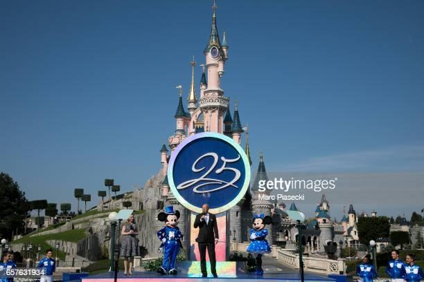 Bob Chapek chairman of Walt Disney Parks and Resorts and Catherine Powell CEO of Eurodisney SAS attend the Disneyland Paris 25th Anniversary opening...