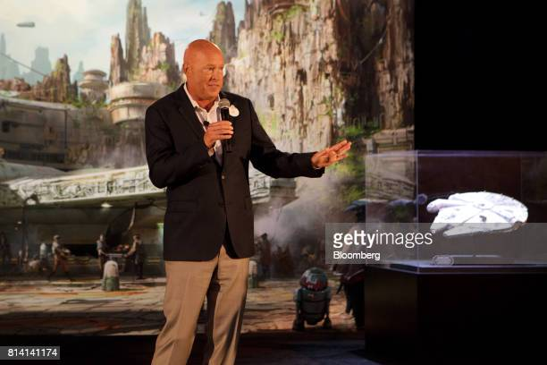Bob Chapek chairman Walt Disney Parks and Resorts speaks during the unveiling of the Walt Disney Co 'Star Wars' lands 3D model ahead of the D23 Expo...