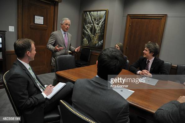 Bob Corker speaks with members of NARAS during a meeting during the Grammy's on the hill lobbying day after a morning planning meeting at Cannon...
