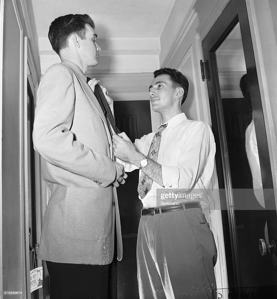 Bob Cousy and Ed Macauley of the Boston Celtics