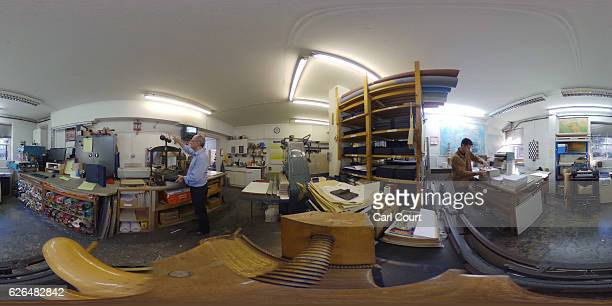 Bob Covington the Head of the Bindery and Bookbinder Patrick Kidder in their workshop at Collis Bird and Withey Bookbinders on November 29 2016 in...