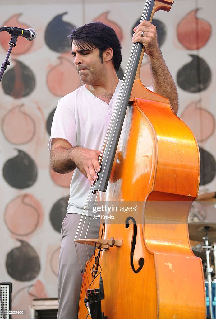 Bob Crawford of <a gi-track='captionPersonalityLinkClicked' href=/galleries/search?phrase=The+Avett+Brothers&family=editorial&specificpeople=4270503 ng-click='$event.stopPropagation()'>The Avett Brothers</a> perform onstage during Bonnaroo 2010 at Which Stage on June 12, 2010 in Manchester, Tennessee.