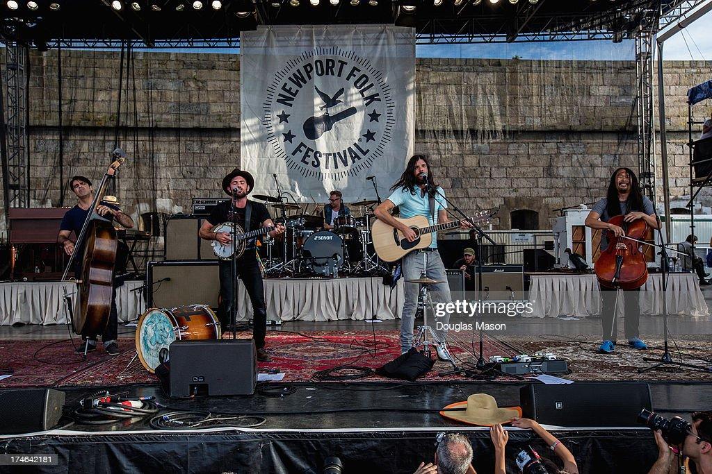 Bob Crawford, Scott Avett, Mike Marsh, Seth Avett and Joe Kwon performs during the 2013 Newport Folk Festival>> at Fort Adams State Park on July 27, 2013 in Newport, Rhode Island.
