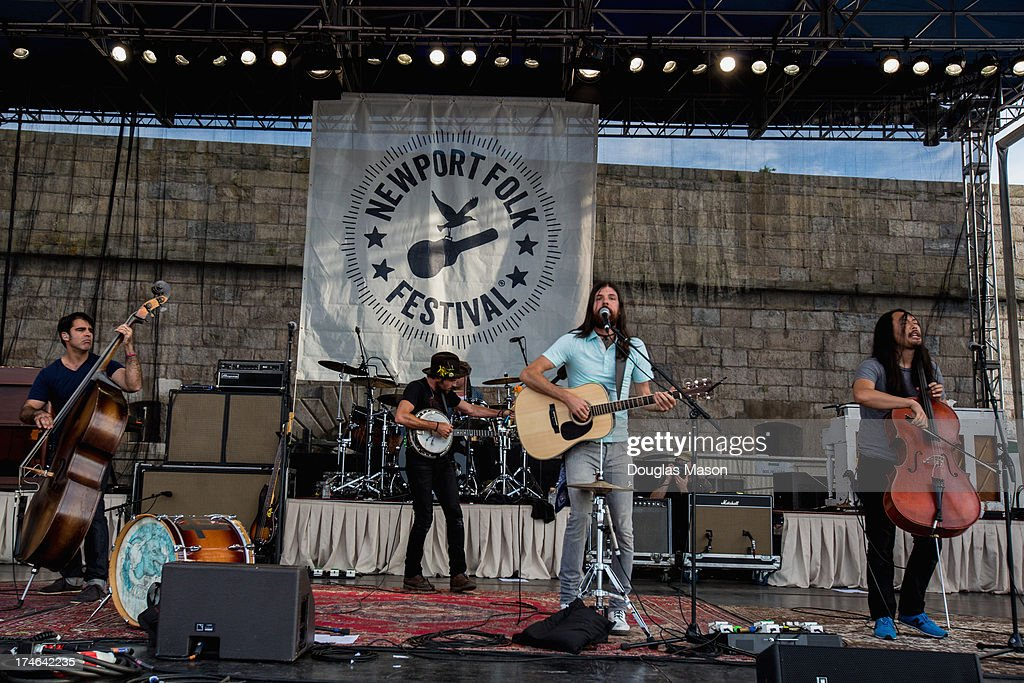 Bob Crawford, Scott Avett, Mike Marsh, Seth Avett and Joe Kwon performs during the 2013 Newport Folk Festival>> at Fort Adams State Park on July 27, 2013 in Newport, Rhode Island.