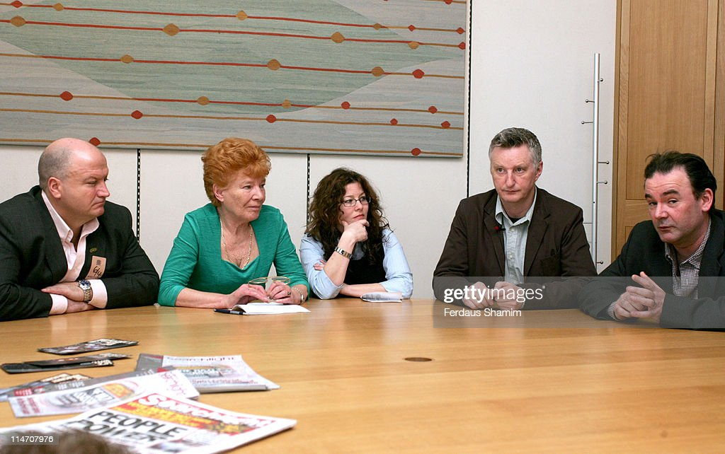 Bob Crow of the RMT, Mary Turner (GMB), Jennie Bremner (Amicus), Billy Bragg and John Cruddus MP