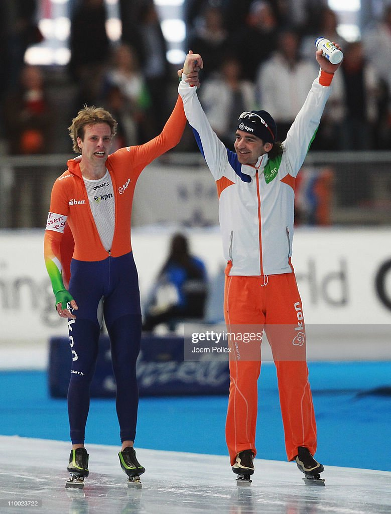 <a gi-track='captionPersonalityLinkClicked' href=/galleries/search?phrase=Bob+de+Jong&family=editorial&specificpeople=822252 ng-click='$event.stopPropagation()'>Bob de Jong</a> (R) and Bob de Vries of Netherland celebrates after the 10000m heats during Day 3 of the Essent ISU Speed Skating World Cup at the Max Aicher Arena on March 12, 2011 in Inzell, Germany.