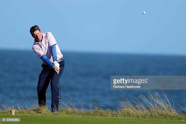 Bob Diamond pitches onto the 15th green during the third round of the Alfred Dunhill Links Championship on the Golf Links course Kingsbarns on...
