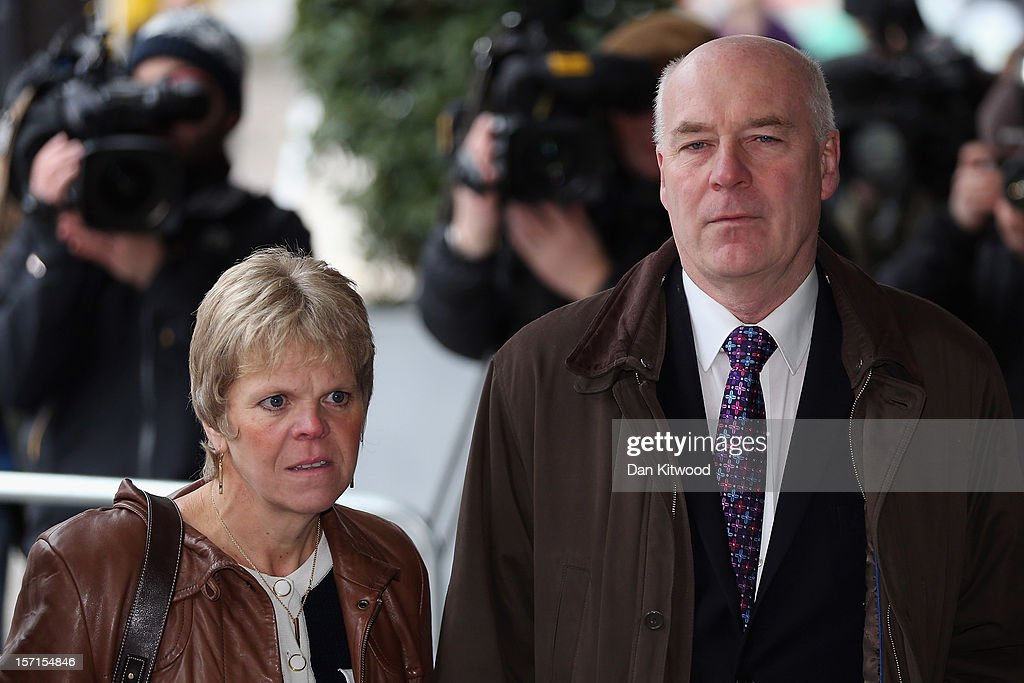 Bob Dowler and Sally Dowler parents of murdered school girl Milly Dowler arrive at the Queen Elizabeth II centre to hear the Leveson Report into...