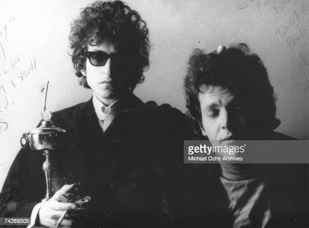 Bob Dylan and David Blue pose for a portrait in 1966