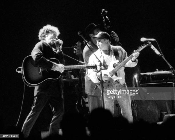 Bob Dylan and Paul Simon are performing together at the McNichols Arena on June 7 1999 in Denver Colorado Photo by Larry Hulst/Michael Ochs...