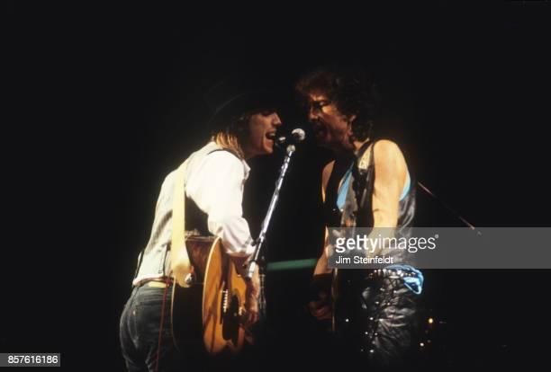 Bob Dylan and Tom Petty perform at the Hubert H Humphrey Metrodome in Minneapolis Minnesota on June 26 1986