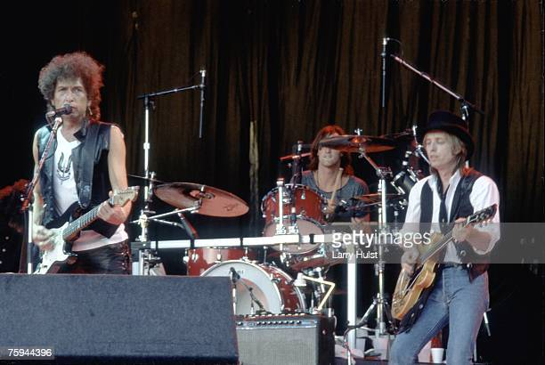 Bob Dylan and Tom Petty performing on stage at Shoreline Amphitheatre on August 5 1986 in Mountain View California