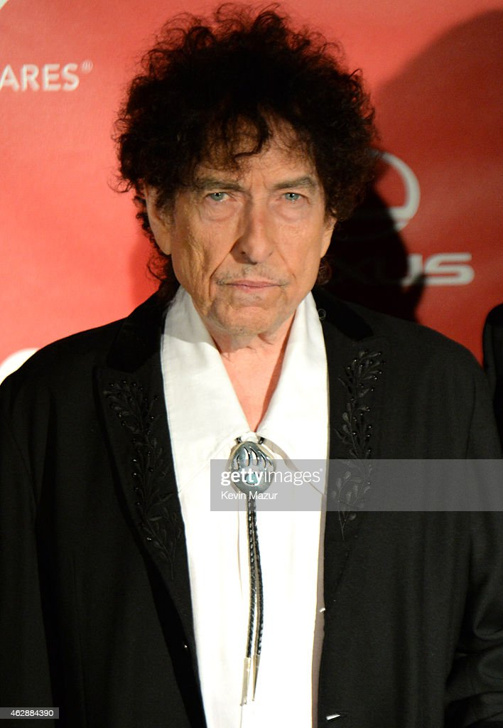 <a gi-track='captionPersonalityLinkClicked' href=/galleries/search?phrase=Bob+Dylan&family=editorial&specificpeople=203289 ng-click='$event.stopPropagation()'>Bob Dylan</a> attends the 25th anniversary MusiCares 2015 Person Of The Year Gala honoring <a gi-track='captionPersonalityLinkClicked' href=/galleries/search?phrase=Bob+Dylan&family=editorial&specificpeople=203289 ng-click='$event.stopPropagation()'>Bob Dylan</a> at the Los Angeles Convention Center on February 6, 2015 in Los Angeles, California. The annual benefit raises critical funds for MusiCares' Emergency Financial Assistance and Addiction Recovery programs. For more information visit musicares.org.