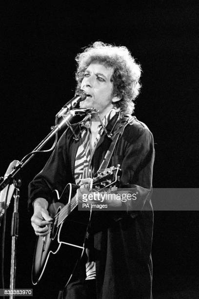 Bob Dylan on stage at Wembley