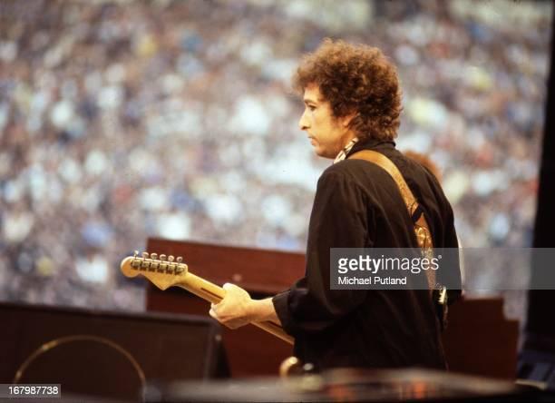 Bob Dylan performing at Wembley Stadium London 7th July 1984 during his European tour