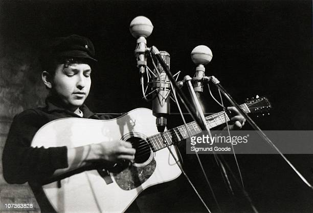 Bob Dylan performs at The Bitter End folk club in Greenwich Village in 1961 in New York City New York