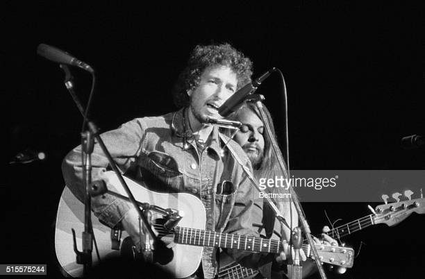 Bob Dylan performs at the Concert for Bangladesh at Madison Square Garden 1st August 1971 The concert is a benefit to raise money for East Pakistani...