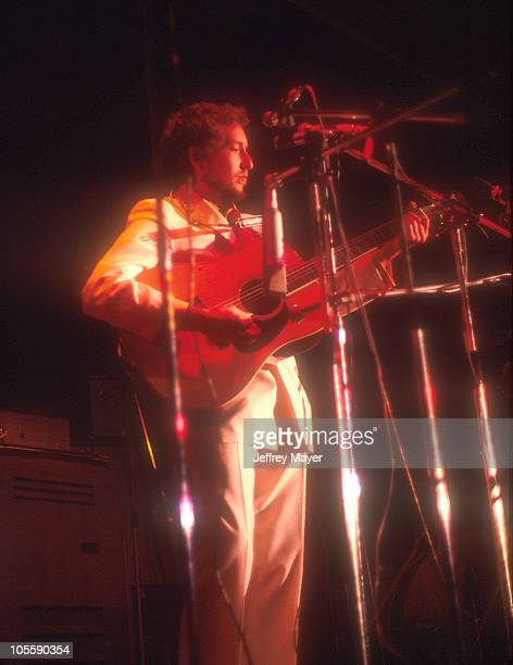 Bob Dylan performs during the Isle of Wight Festival in August 1969 at Ford Farm Isle of Wight UK