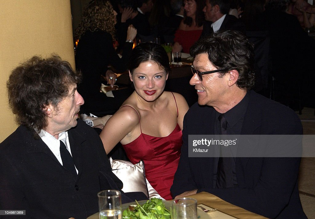 <a gi-track='captionPersonalityLinkClicked' href=/galleries/search?phrase=Bob+Dylan&family=editorial&specificpeople=203289 ng-click='$event.stopPropagation()'>Bob Dylan</a>, <a gi-track='captionPersonalityLinkClicked' href=/galleries/search?phrase=Robbie+Robertson&family=editorial&specificpeople=213227 ng-click='$event.stopPropagation()'>Robbie Robertson</a> and wife Dominique during The 10th Annual Elton John AIDS Foundation InStyle Party - Inside at Moomba Restaurant in Hollywood, California, United States.
