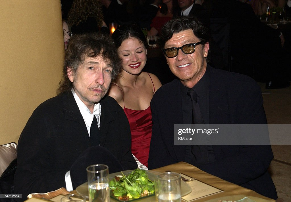 Bob Dylan, Robbie Robertson and wife Dominique during The 10th Annual Elton John AIDS Foundation InStyle Party - Inside at the Moomba Restaurant in Hollywood, California.