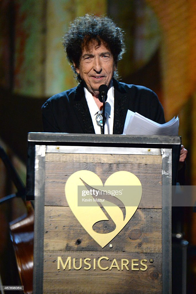 Bob Dylan speaks onstage at the 25th anniversary MusiCares 2015 Person Of The Year Gala honoring Bob Dylan at the Los Angeles Convention Center on February 6, 2015 in Los Angeles, California. The annual benefit raises critical funds for MusiCares' Emergency Financial Assistance and Addiction Recovery programs. For more information visit musicares.org.