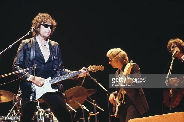 Bob Dylan US singersongwriter playing guitar during a concert performance circa 1975