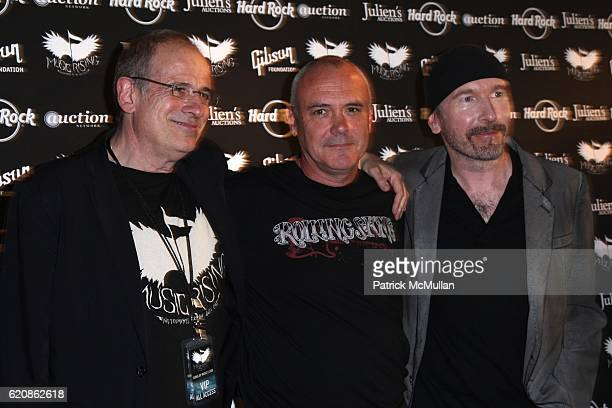 Bob Ezrin Hamish Dodds and The Edge attend ICONS OF MUSIC II AUCTION to Benefit MUSIC RISING at HARD ROCK CAFE NEW YORK at Hard Rock Cafe on May 31...