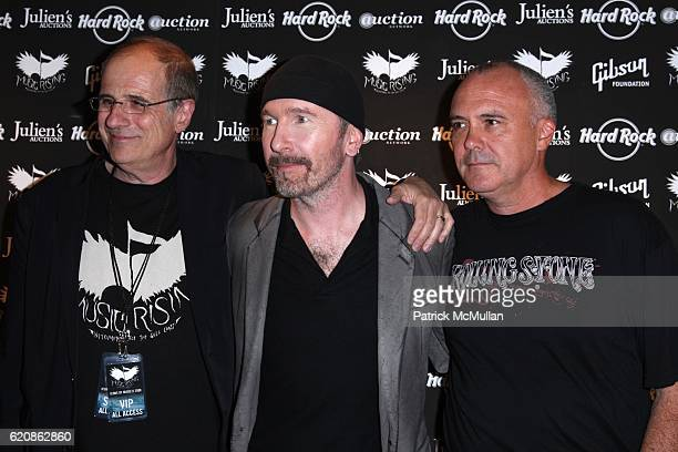 Bob Ezrin The Edge and Hamish Dodds attend ICONS OF MUSIC II AUCTION to Benefit MUSIC RISING at HARD ROCK CAFE NEW YORK at Hard Rock Cafe on May 31...
