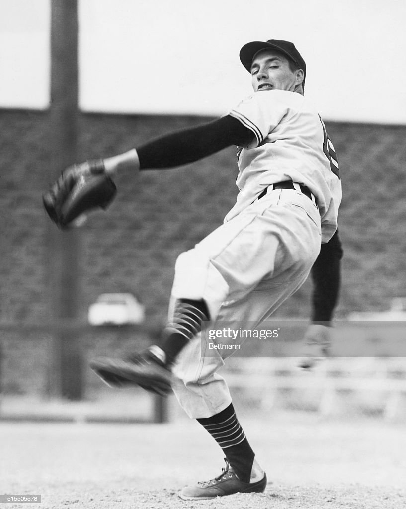 Bob Feller, of the Cleveland Indians, in mid-pitch.