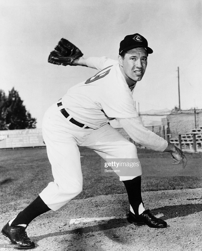 Bob Feller, of the Cleveland Indians, in post-pitch position. Undated photograph.