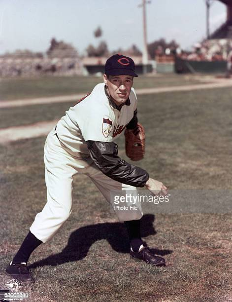Bob Feller of the Cleveland Indians poses for an action portrait before a season game Bob Feller played for the Cleveland Indians from 19361956