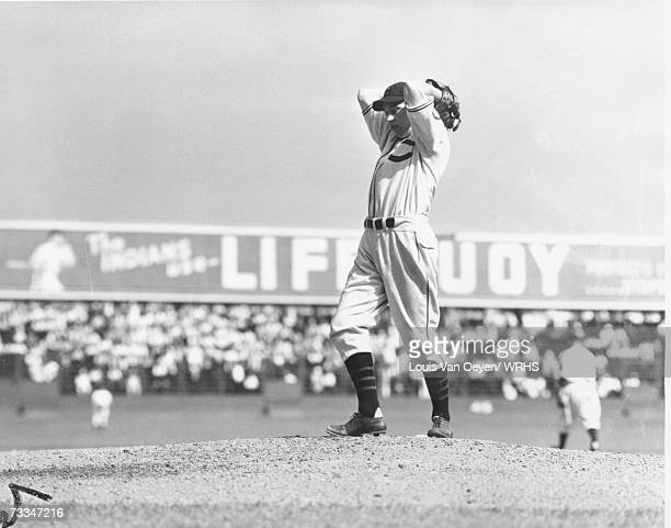 Bob Feller takes his warm up tosses Cleveland vs the St Louis Browns at League Park The seventeen year old Feller struck out 15 batters beating the...