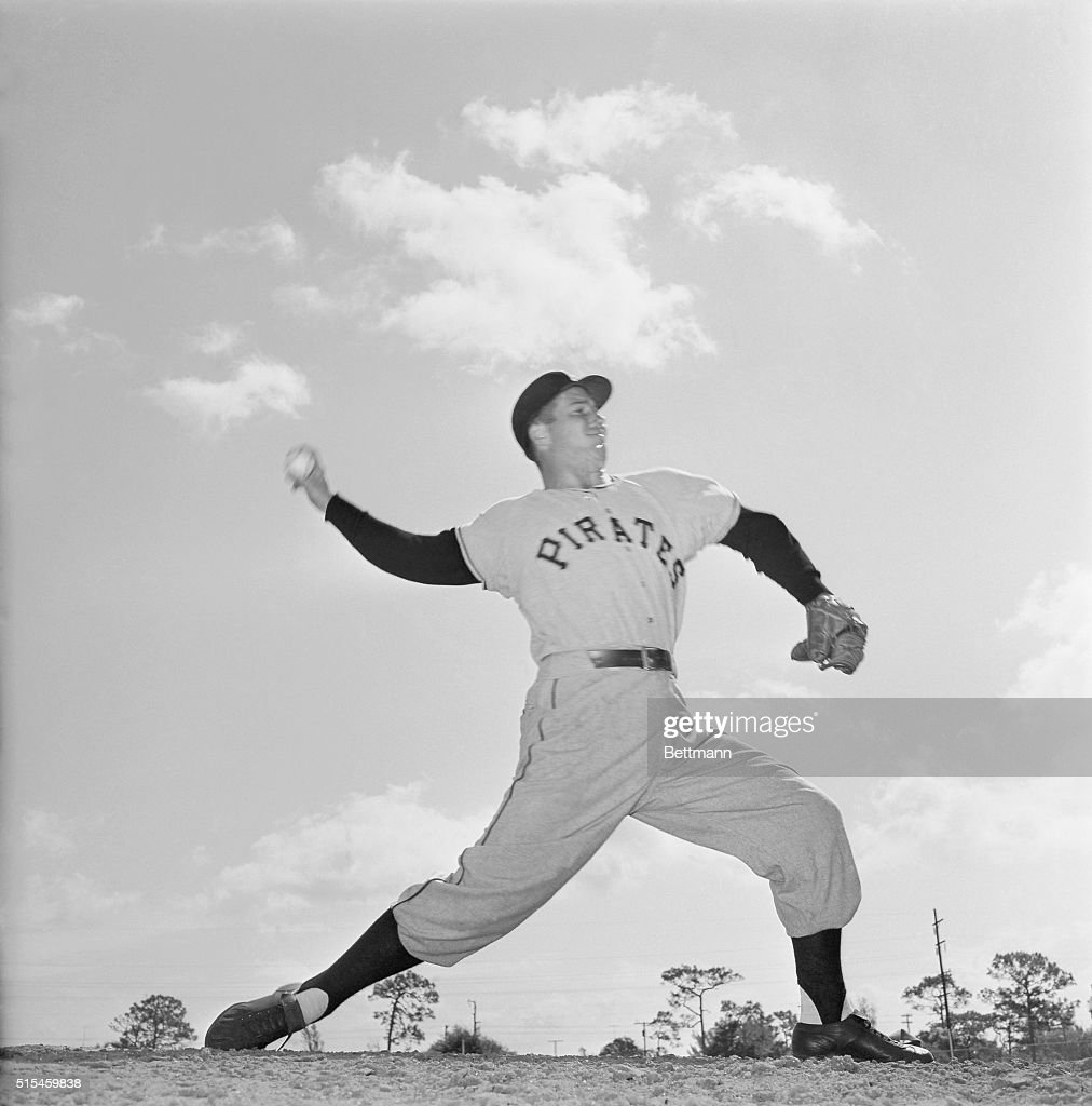Bob Friend who won 14 and lost 9 last year and was one of outstanding National League pitchers for the Pittsburgh Pirates is silhouetted in action...